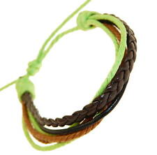 Mens Dark Brown & Black Leather Strap Surf Brown Green Cord Wristband Bracelet