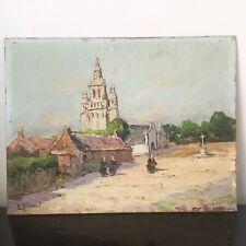 Robert Giovani Tableau Début XXè Village Breton avec Bretonnes Bretagne Painting