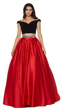 TWO PIECE PROM QUEEN DRESS RED CARPET EVENING SEMI FORMAL GOWN SPECIAL OCCASION