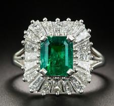 1.90ct Emerald Cut Emerald Stone 925 Sterling Silver Anniversary Ballerina Ring