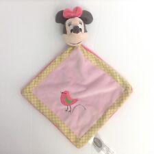 Disney Minnie Mouse Pink Security Blanket Bird Green Polka Dot Border Lovey