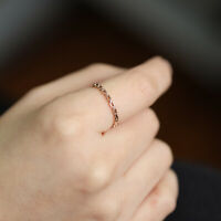 Solid Chain Shape Ring Band, 10K 14K Solid Gold Chain Link Stacking Ring