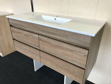 1200MM BATHROOM VANITY WALNUT WOODGRAIN SOFT CLOSING DRAWER CERAMIC BASIN