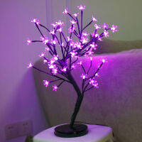 20 Inch Flower Christmas Cherry Blossom Tree LED Bonsai Tree, Pink, 64 LED Light