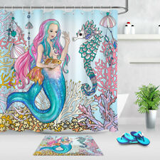Underwater World Mermaid Gold Fish Seahorse Shower Curtain Set Bathroom Decor