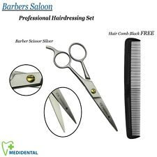 "Professional Hairdressing Set Barbers Saloon Scissor Silver 5.5"" With Hair Comb"
