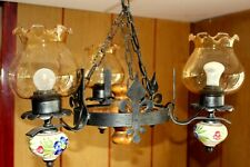 ANTIQUE FRENCH VINTAGE WOOD/PORCELAIN CEILING LIGHT RUSTIC CHANDELIER GOTHICLAMP