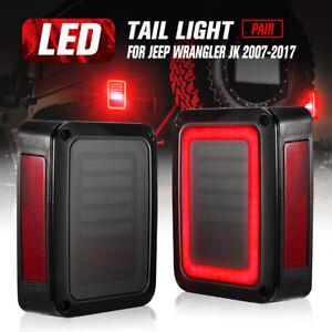 2x Smoked LED Tail Lights Brake Turn Reverse for Jeep Wrangler JK 07-17 OEM