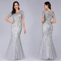 Ever-Pretty Sliver Bridesmaid Dress Long Mesh Fishtail Bodycon Party Dress 07707