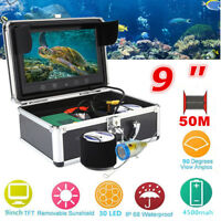 9in LCD Monitor 50m Fish Finder Sonar Underwater Fishing Camera LED Night Vision