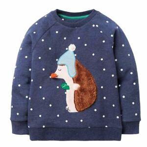 Ex Mini Boden Unisex Christmas Fluffy Friends Hedgehog Sweatshirt 2-12Yrs