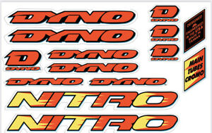 Dyno Nitro 1992 Decal Set old school BMX Restoration Neon Yellow / Orange