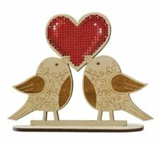 Wooden Cross Stitch Kit - OVEN/OBEH - Winged Love Birds 3D Ornament- 11.0x13.0cm