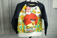 New Angry Birds Cotton Sweatshirt Pullover warm Boy Navy Blue Gray Sz 95cm  4T