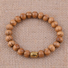 10mm Wood Beaded Bracelet Gold Buddha Bangle Men Women Gift Wristbands