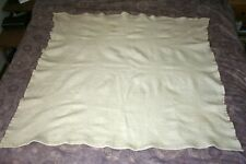 """Antique Hand Woven NATURAL UNBLEACHED WOOL Crewel Throw Blanket  52 X 58"""""""