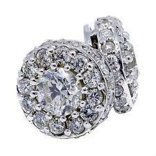 Diamond Stud Halo Earring 2.92 Carat Round Cut14k White Gold