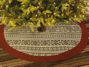 """Fair Isle Nordic Christmas Tree Skirt Grey White Red Sweater Knit 48"""" NEW"""