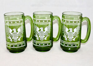 Vintage 1960's AMERICAN EAGLE Stars & Stripes Green Glass Beer Mugs Lot of 3