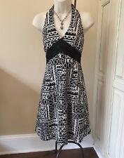 Jones Of New York Petite Ivory & Black Woven Center Halter Dress ~ Women's 4P