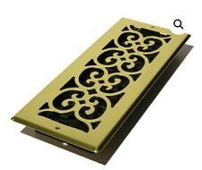 Decor Grates SPH412 4-Inch by 12-Inch Scroll Floor Register, Bright Brass, New