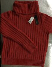 Banana Republic Women's Wool Rib Turtle Neck Orange Tamale Sweater Top SZ XL $98