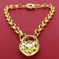 Genuine Solid 14k Yellow Gold GF Rings Chain Heart Clasp Padlock Bracelet Bangle