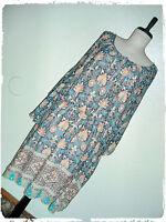 Tacera Bohemian Boho Ivy Damask Aztec Border Trumpet Sleeve Blouson Dress 2X