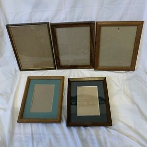 Photo Picture Frames Wood  with Glass Inserts 8x10 Lot of 5 - 2 with Matting