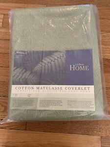 LL Bean Home Matelasse Twin Coverlet Green Sage Bedspread Cotton Portugal NEW