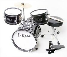 De Rosa DRM312-BK 12 in. Kids Children Drum Set in Black - 3 Piece Set
