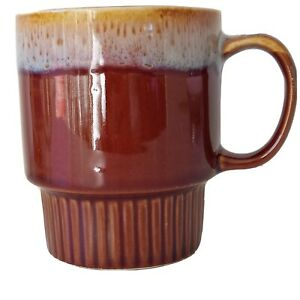 Vintage Mug Cup Glazed Retro Coffee 1980s bands of White Brown Tan pottery