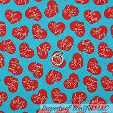 BonEful Fabric FQ Cotton Quilt I LOVE LUCY Red White Heart Word Polka Dot Retro