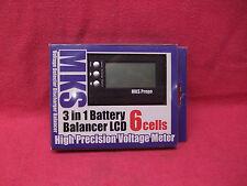 *NICE*MKS PROPO 3 IN 1 LIPO LIFE BALANCER w VOLT METER LCD 2S-6S 7.4v-22.2v JST