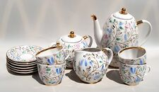 Vintage Imperial Russian USSR LOMONOSOV Coffee Set Porcelain Hand Painted Flower