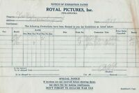 Royal Pictures, Inc. Notice of Exhibition Dates of Films 1927 Invoice Ref 39825