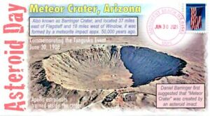 """COVERSCAPE computer designed """"Asteroid Day"""" 2021 (Meteor Crater) event cover"""