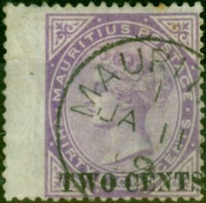 Mauritius 1891 2c on 38c Bright Purple SG121 Fine Used