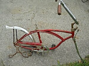 "1970 20"" Schwinn chrome springer fork Bicycle Frame fork chain guard Apple Krate"
