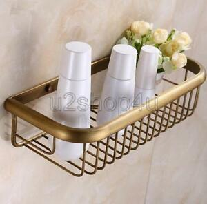 Antique Brass Wall Mounted Bathroom Soap / Sponge Shower Storage Basket Uba030