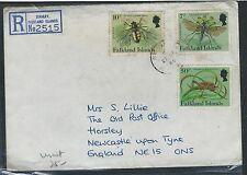 FALKLAND ISLANDS (P1101B) 1986 INSECT 7P+1-P+50P REG TO ENGLAND