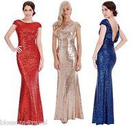 Goddiva Sequin Open Back Maxi Evening Full Length Dress Bridesmaid Prom Wedding