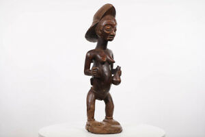 "Mother and Child Punu Statue 23.5"" - Gabon - African Art"