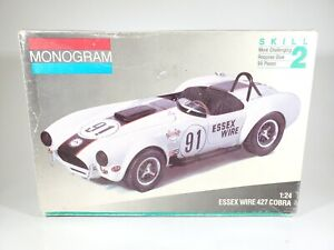 VINTAGE MONOGRAM 1/24 SCALE ESSEX WIRE 427 COBRA PLASTIC MODEL KIT - OPEN BOX