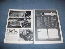 """1962 Volvo 122-S B-18 Vintage Road Test Info Article """"It May Look the Same...."""""""