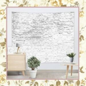 """WHITE BRICK TAPESTRY BACKDROP CLOTH WALL 50"""" x 58"""" INCH WALLPAPER BACKGROUND"""