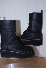 Ladies Black Mid Calf Platform Lace Up Boots Eu Size 41