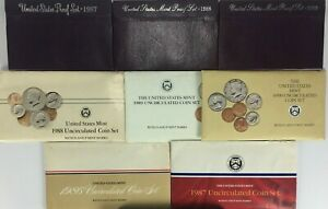 Lot of 8 Different US Mint Proof Uncirculated Sets 1986,1987,1988,1989,1990 D&P