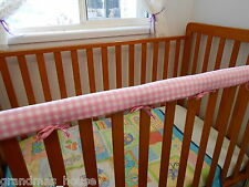 Baby Cot Crib Teething Rail Cover Baby Pink Check 100% Cotton***REDUCED****