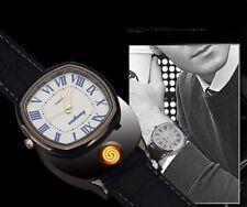 Mens USB Rechargeable Lighter Watch High-grade Wristwatch Windproof Flameless